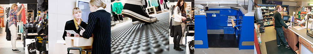 ergonomiske arbejdsmåtter til butikker og diverse arbejde ved skranker