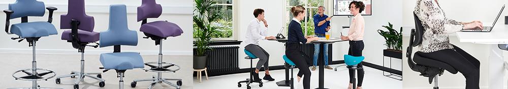 Kontorstole til ethvert formål høje og lave med eller uden armlæn og nakkestøtte samt et stort udvalg af sadelstole fra Ergotec alle stole med korrekt ergonomi og støtte