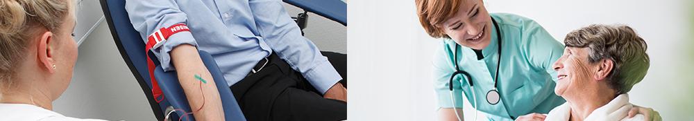 Patientstole fra Ergotec er designet så både patient og prøvetager kan side behageligt og opnå en ergonomisk korrekt siddestilling under prøvetagning